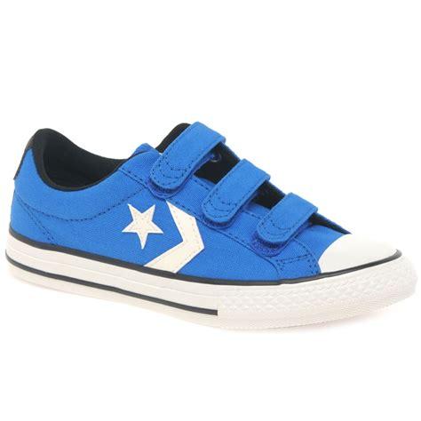 converse player 3v junior boys blue trainers