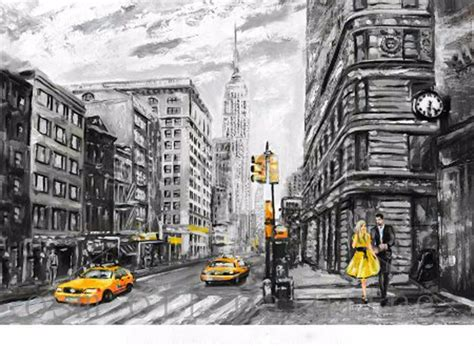 Handmade New York - handmade white and black abstract painting on canvas