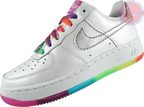 colorful air ones nike air 1 gs white rainbow outsole