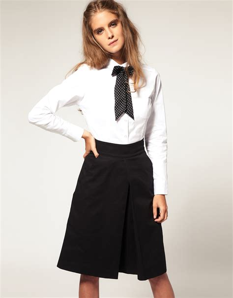 White Blouse Pan Collar by Lyst Asos Collection Asos Pan Collar Fitted Shirt