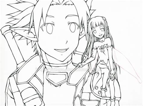 sword art online kirito coloring page colouring in pages