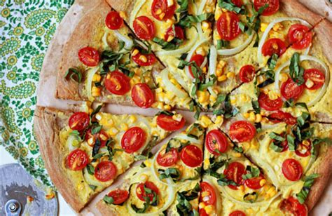 Vegan Summer Pizza with Corn, Tomatoes, and Basil