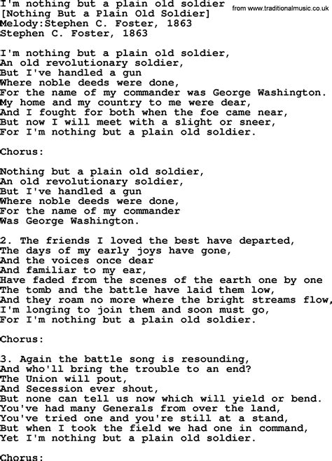 soldier song american song lyrics for i m nothing but a plain soldier with pdf