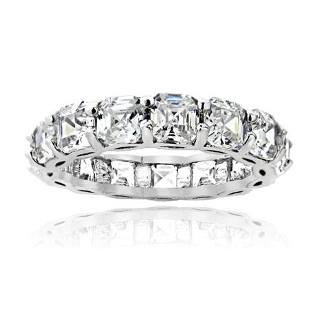 925 sterling silver 5 85ct asscher cut cz eternity wedding