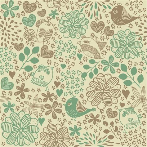 background pattern free seamless birds in flowers romantic seamless pattern vector