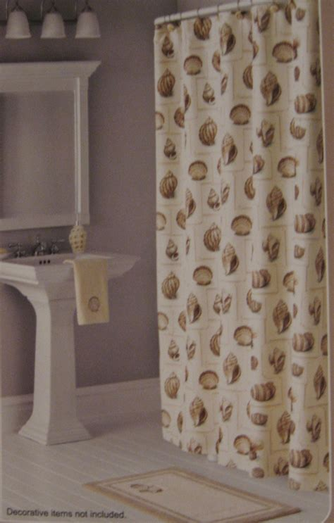 seashell fabric shower curtain anns home decor and more seashells ivory coast fabric