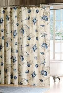 Shell Curtains Blue Seashells Shower Curtain Sea Shell Coral Starfish
