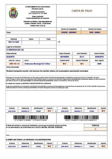 carta para transferencia de multa pagos sede electr 243 nica ayuntamiento de cartagena