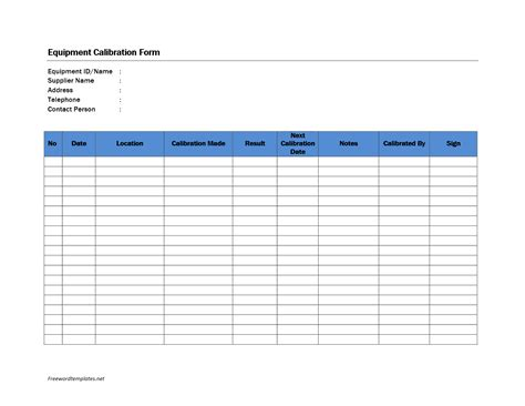 Calibration Spreadsheet Template by Calibration Format Archives Freewordtemplates Net