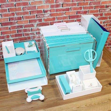 white desk accessories cool aqua and white desk accessories from poppin