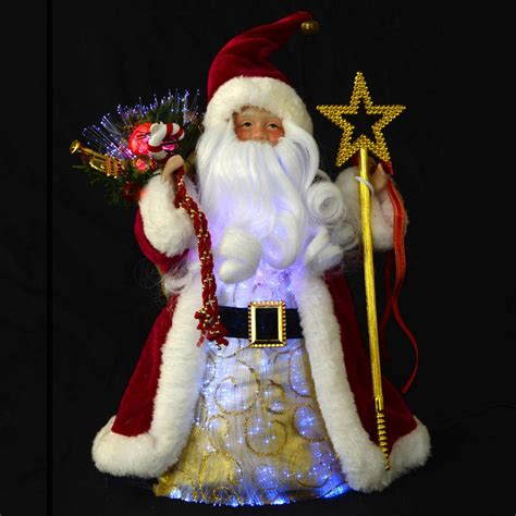 light up santa claus 12 quot fibre optic festive santa claus light up colour