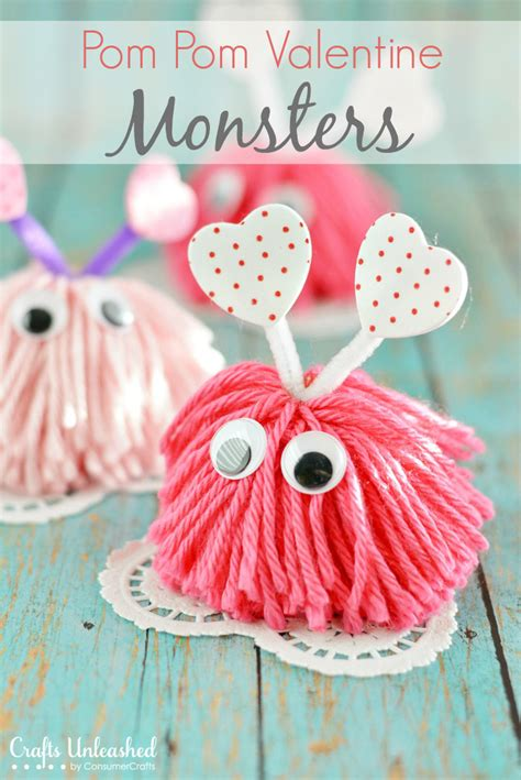 valentines craft ideas craft pom pom monsters tutorial