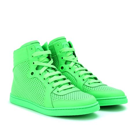 neon shoes gucci neon leather high top sneakers in green lyst