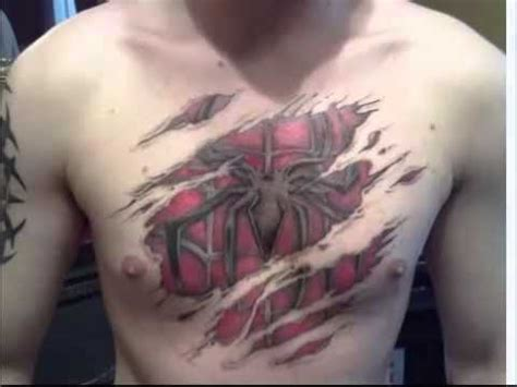 spiderman chest tattoo unfinished chest ripped skin
