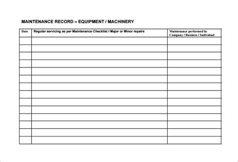 maintenance schedules templates equipment maintenance schedule template excel task list