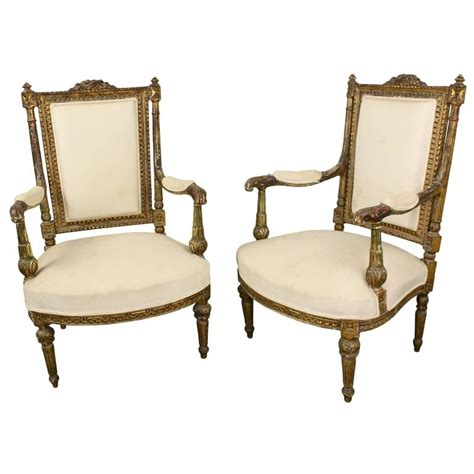 upholstered armchairs for sale pair of antique french gold gilt upholstered armchairs for