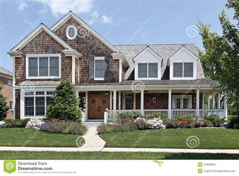 Country Home Plans With Wrap Around Porches suburban home with front porch stock image image 13458003