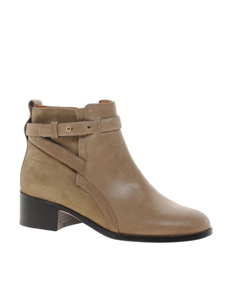flat ankle shoes whistles cross taupe flat ankle boots in gray