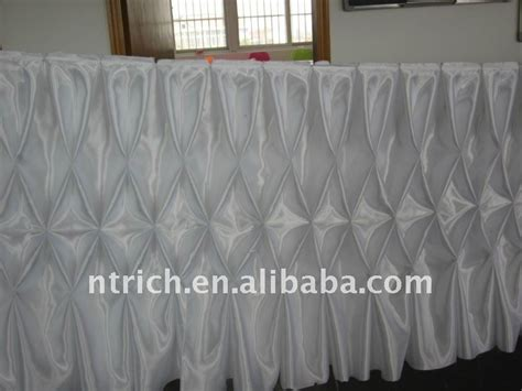 fascinating gathered table skirts white colour satin