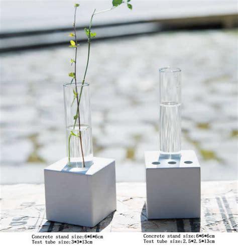 test tube planter flower vase  concrete base stand