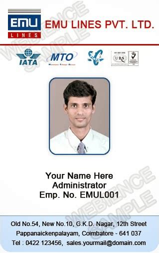 Employee Id Card Template by Id Card Coimbatore Ph 97905 47171