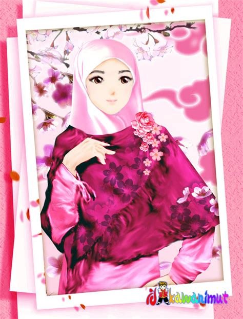 nini si pelupa kartun muslimah cantik dengan berjilbab