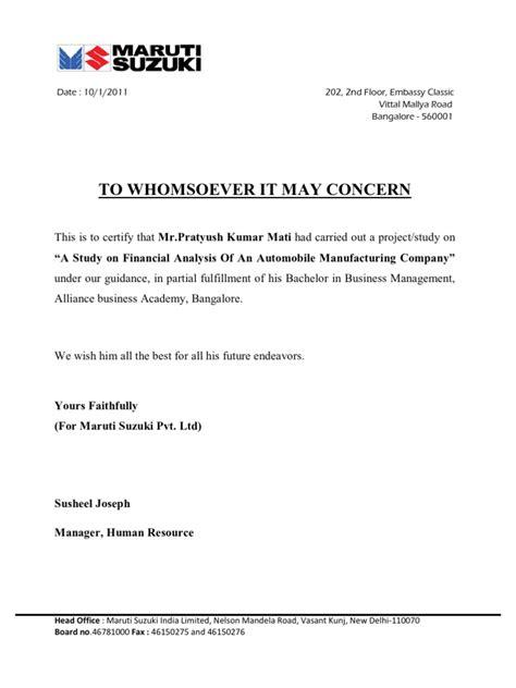 Experience Letter Bangalore Maruti Suzuki Letter