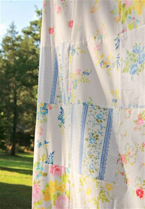 Vintage Patchwork Curtains - diy vintage bedsheet fabric patchwork curtain diy ideas