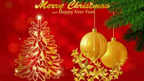 merry christmas wishes  happy  year red background  card wallpaperscom