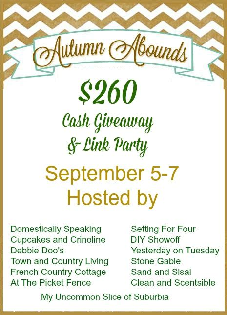 Rafflecopter Giveaway Linky - autumn abounds linky cash giveaway sand and sisal
