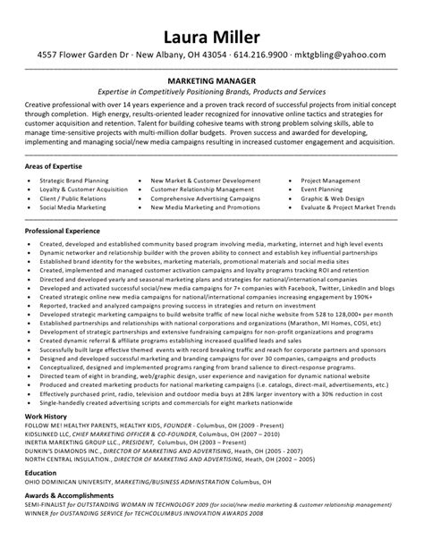 Advertising And Promotions Manager Sle Resume by Miller Resume Marketing Manager