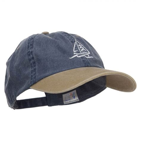 sailboat hat embroidered cap navy khaki sailboat wave embroidered cap