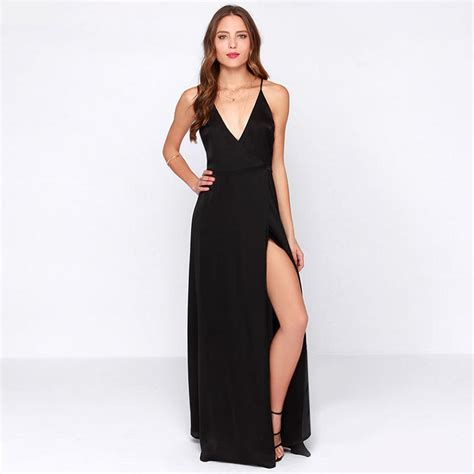 black split longdress w8180usi d black v neck cross back maxi dress from kody epic
