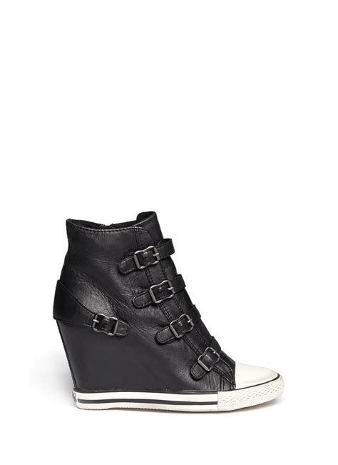 leather sneaker boots ash united leather wedge sneaker boots in black lyst