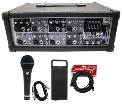 Power Mixer Black Spider 8 Channel new peavey pvi8b 150 watt 8 channel powered mixer console microphone xlr cable audio savings