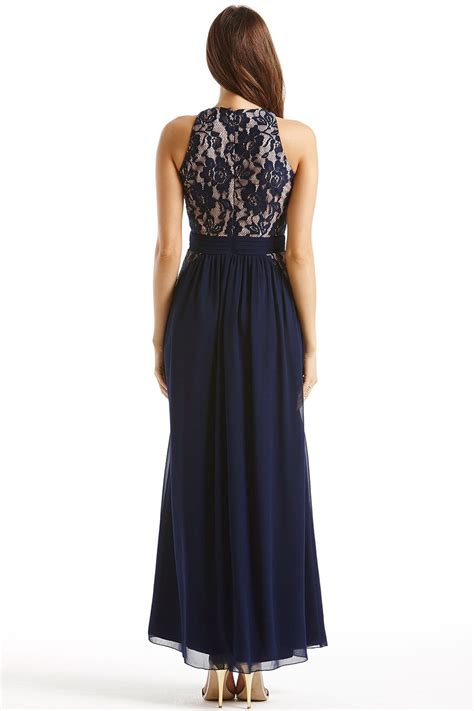 Maxi Lace Flower navy and lace floral maxi dress from uk