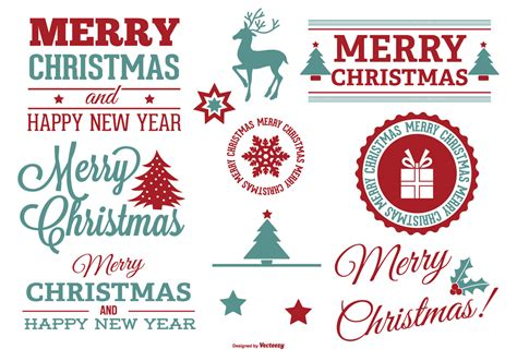 beautiful christmas label set   vector art stock graphics images