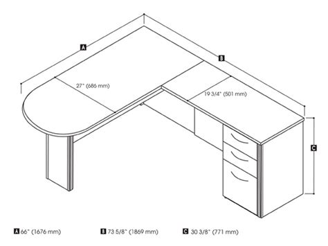 L Shaped Desk Dimensions Embassy L Shaped Desk With Peninsula Table Smart Furniture