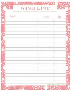 birthday gift list template 4 best images of birthday gift list printable free