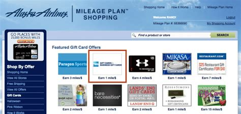 Alaska Airline Miles For Gift Cards - amex gift cards back to airline shopping portals at a measly 1x mile per dollar