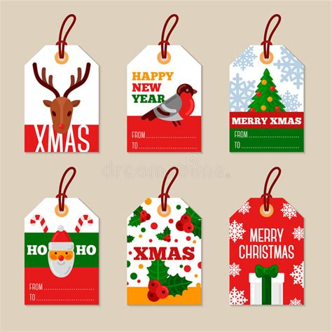 set  merry christmas flat gift tags stock vector illustration  stamp design