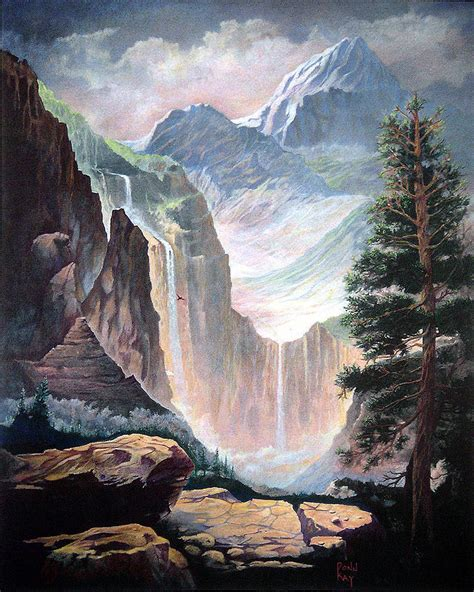 mythical valley falls painting  donn kay