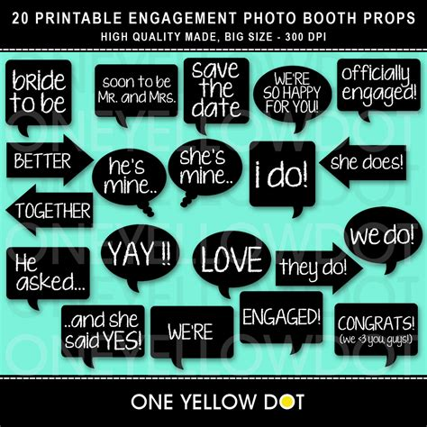 Printable Photo Booth Props Engagement | instant download engagement photo booth props printable
