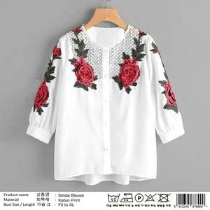 Baju Hem Panjang Wanita baju kemeja wanita hem warna putih lengan panjang motif cantik moderl terbaru