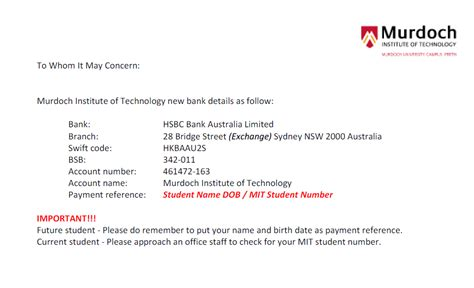 bank details murdoch change of mit bank details reminder