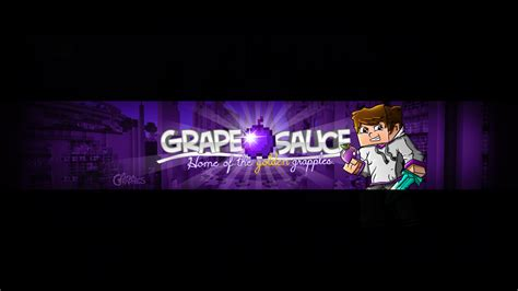 Graphics Design Youtube Banner | grapeapplesauce minecraft youtube banner by finsgraphics