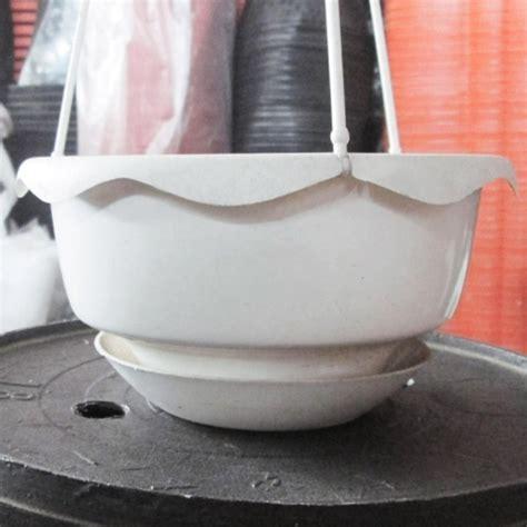 Pot Tanaman Bulat pot gantung bulat putih self watering bibitbunga