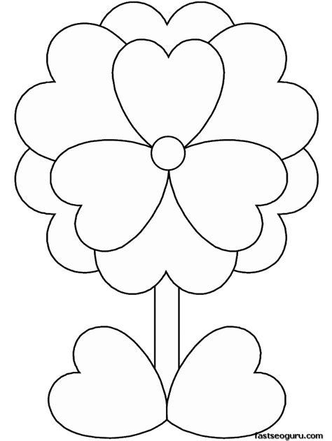 coloring pages print out valentines day flower coloring