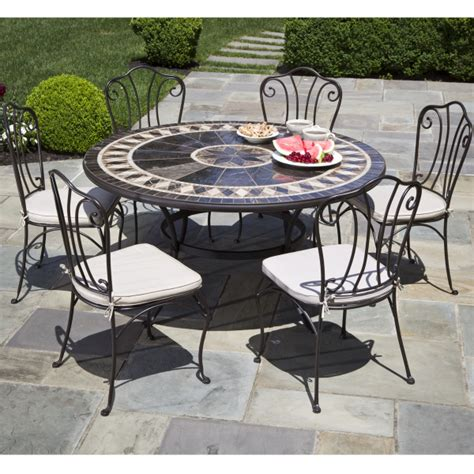 marble patio furniture 7 gibraltar mosaic dining patio set from alfresco