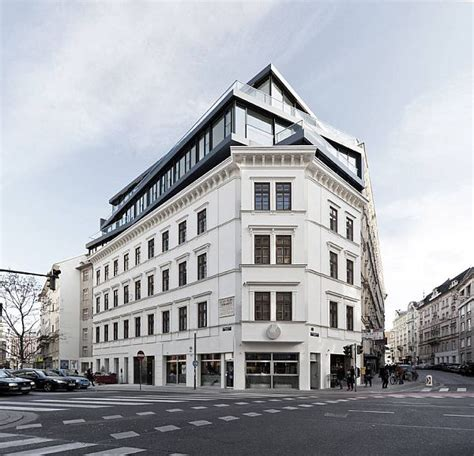 Wien Modern Architecture A Three Story Rooftop Extension Was Added To An Existing